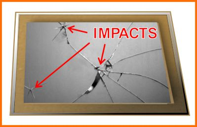 Cracked mirror with impact points