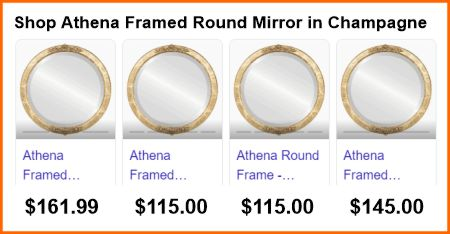 Athena mirror prices from Google search