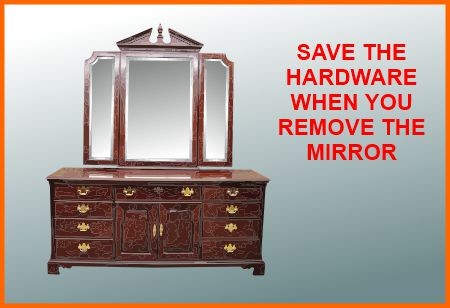 Dresser mirrors are attached with brackets