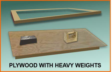 Warped frame straightened with weights